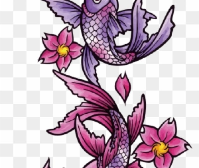 Butterfly Koi Tattoo Black And Gray Fish Koi Fish Tattoo Designs