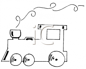 Train Engine Clip Art Black and White