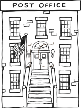 Post Office Building Clip Art Black And White Sketch