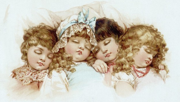 vintage image little girls, sleeping antique girls