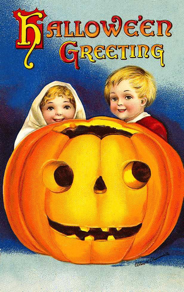 Vintage Children behind Jack-o-lantern