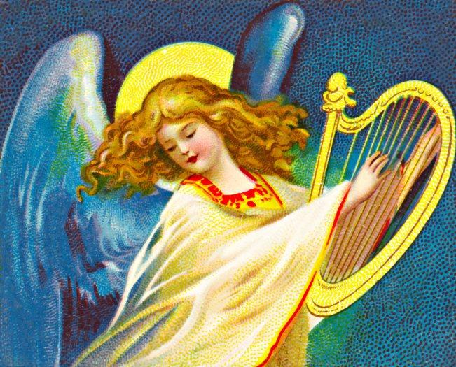 Victorian Christmas Angel Harp