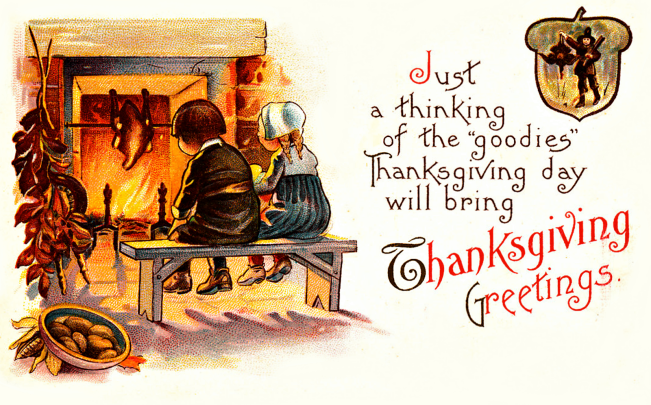 Free Vintage Thanksgiving Fireplace Graphic