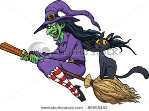 a cackling witch riding