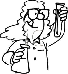 Clip Art Image: A Coloring Page of a Chemist