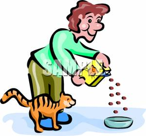 Art Image A Man Bending Over To Feed His Cat