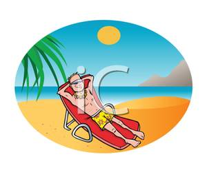 Clipart Picture: A Man Relaxing In a Beach Chair on a