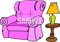 A Purple Recliner Next To a Table Lamp - Clipart