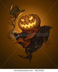 scary scarecrow with pumpkin