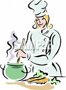 Clipart Picture A Smiling Female Chef Stirring a Pot of Soup