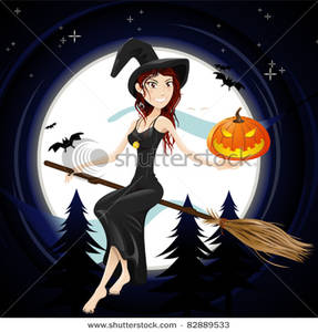 a smiling witch riding