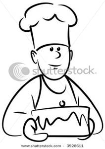 Clip Art Image: Baker with Cake In Black and White