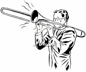 Black and White Man Playing Trombone Clip Art Image