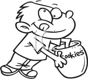 Clip Art Image: Black and White Boy Getting Cookies Out of