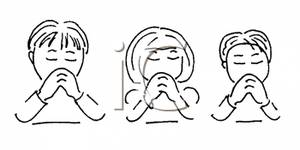 Black and White Children Praying Clip Art Image