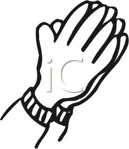 Clipart Image: Black and White Hands Folded In Prayer