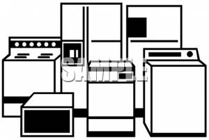 Clip Art Image: Black and White Household Appliances