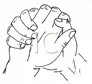 Royalty Free Clipart Image: Black and White Praying Hands