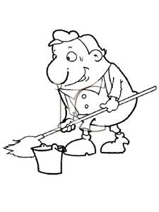 Clip Art Image: Coloring Page of a Janitor with a Mop and