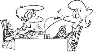Clip Art Image: Coloring Page of a Woman Starting a Food