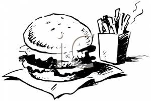 Clip Art Image: Fast Food Coloring Page