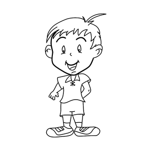 Little Boy Line Art clipart, cliparts of Little Boy Line
