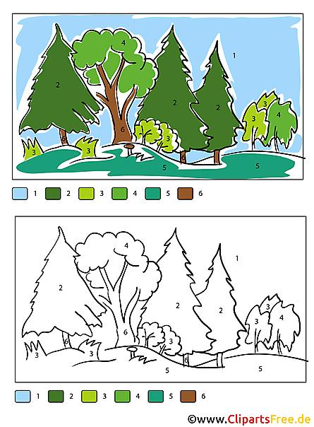 Wald Malvorlage Malen nach Zahlen