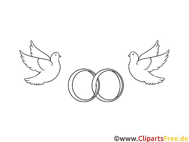 Eheringe mit Tauben Hochzeitsbilder Malvorlagen