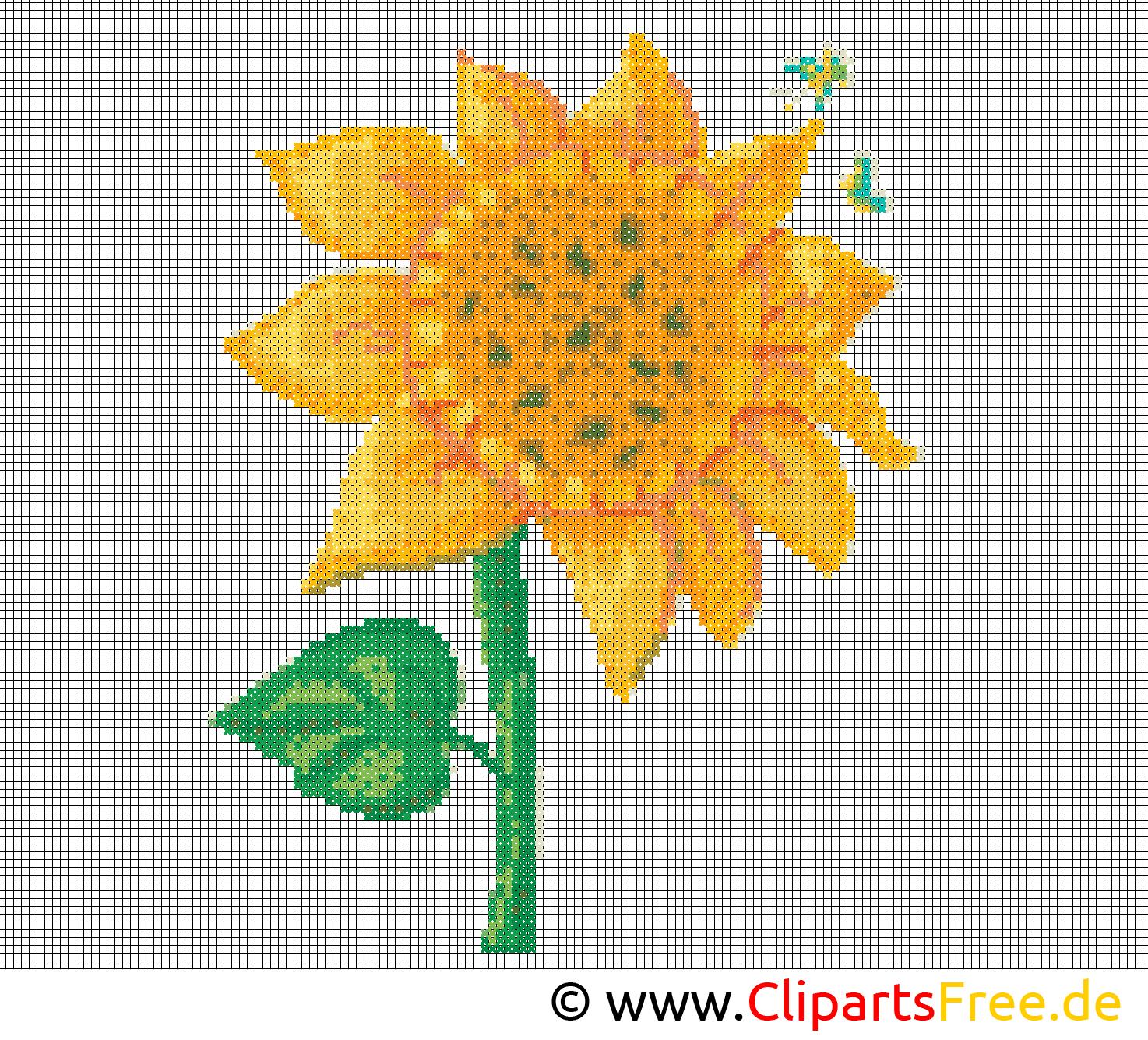 Stickvorlage Sonnenblume  Stickbilder Vorlagen zum Ausdrucken