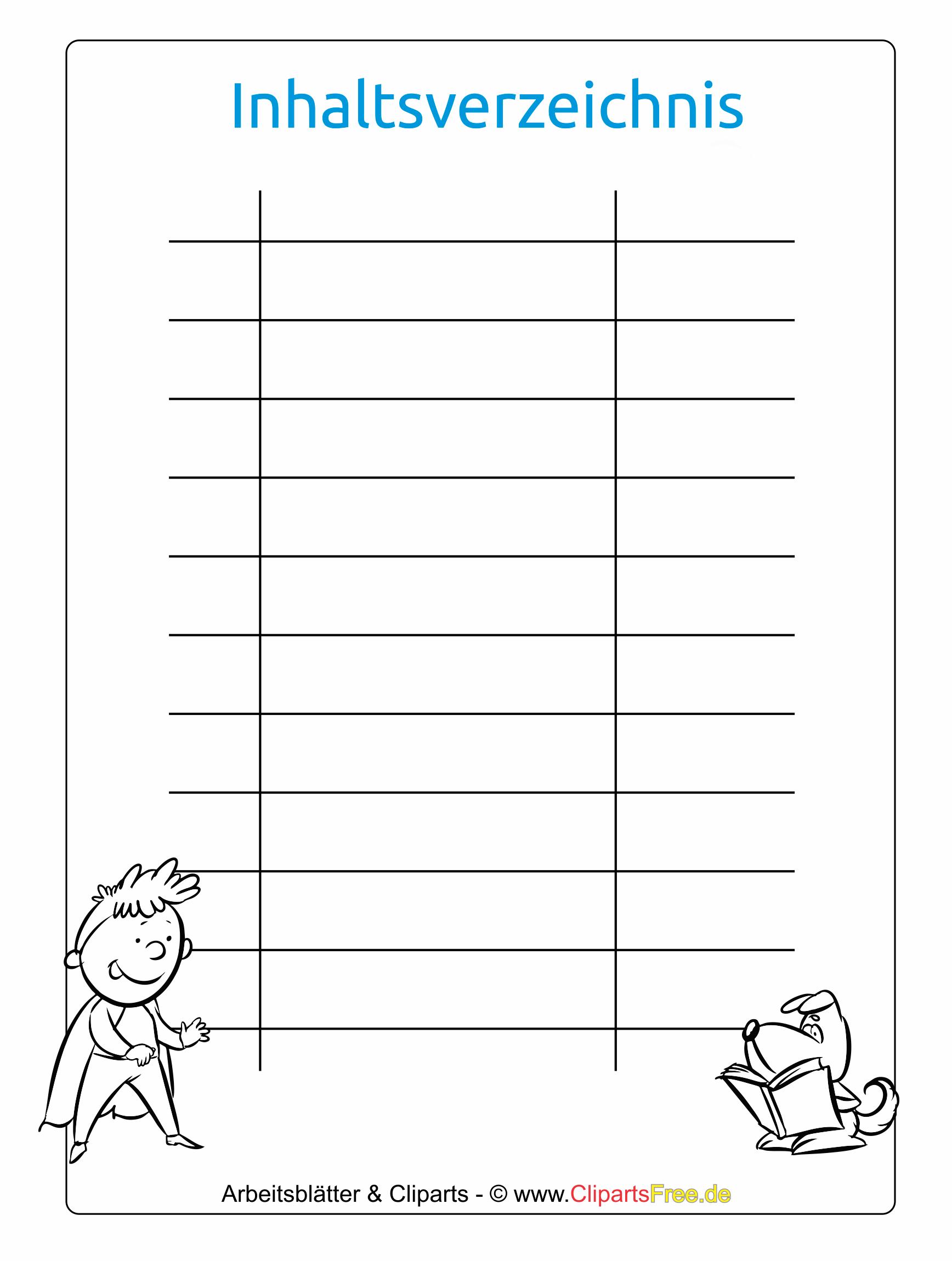 Inhaltsverzeichnis Vorlage fr Schule