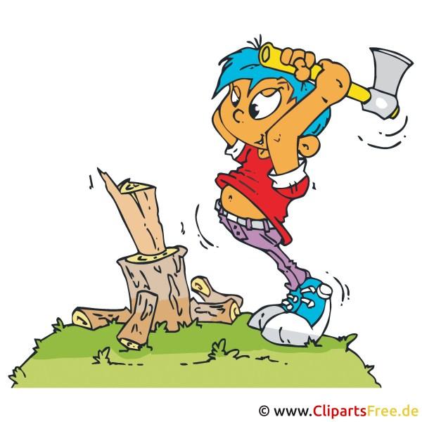 Junge Mit Axt Hackt Holz Clipart Bild Cartoon Grafik Illustration