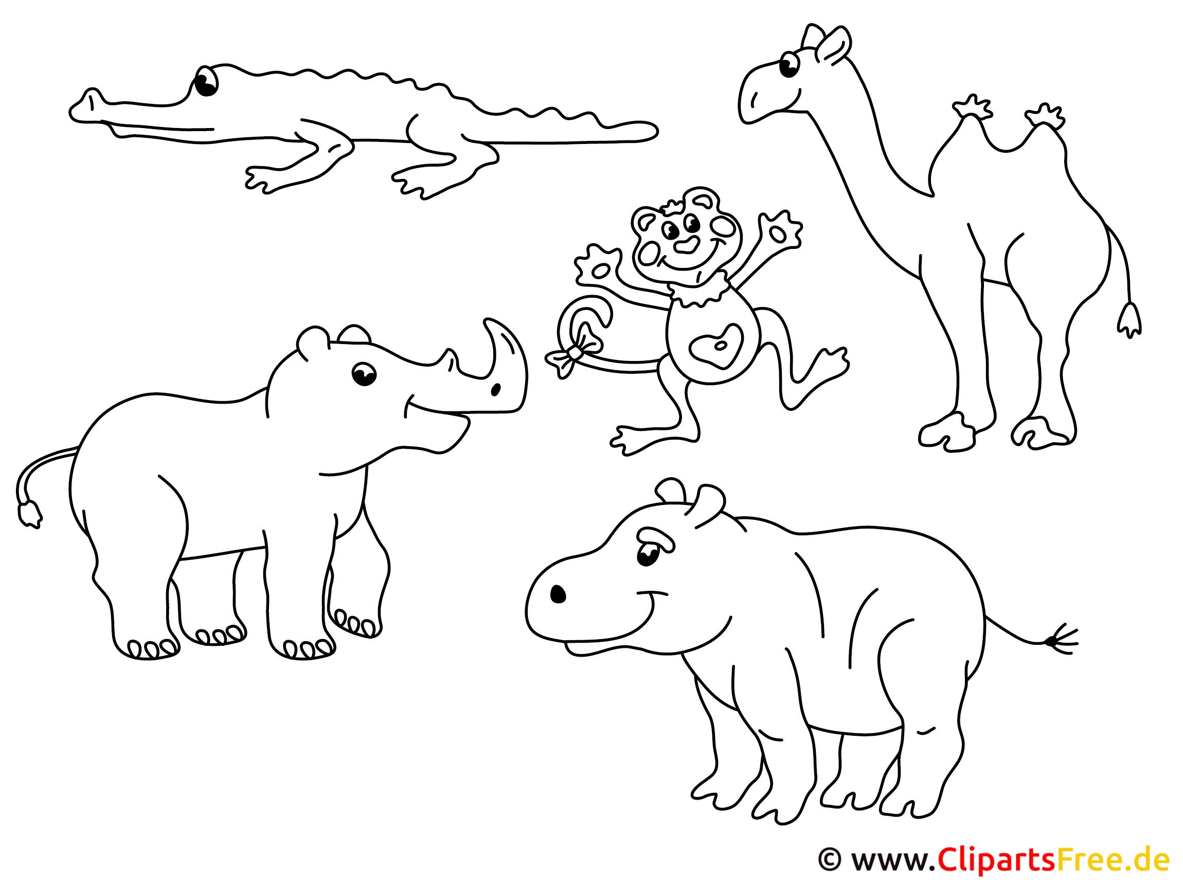 Zootiere zum ausmalen