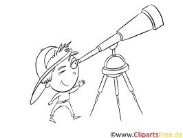 Fernrohr, Teleskop Malvorlage zum Drucken