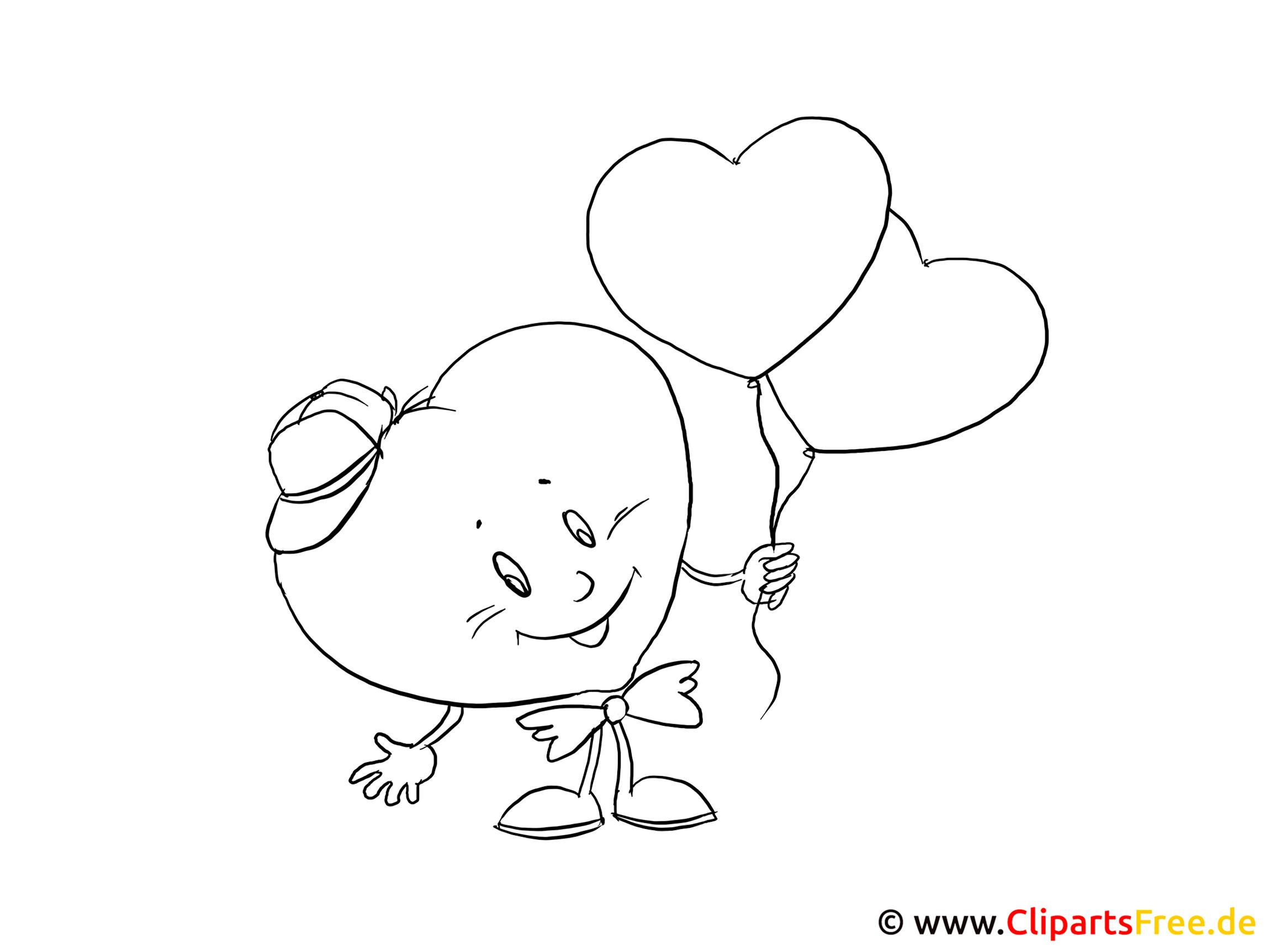Malvorlage Cartoon Herz