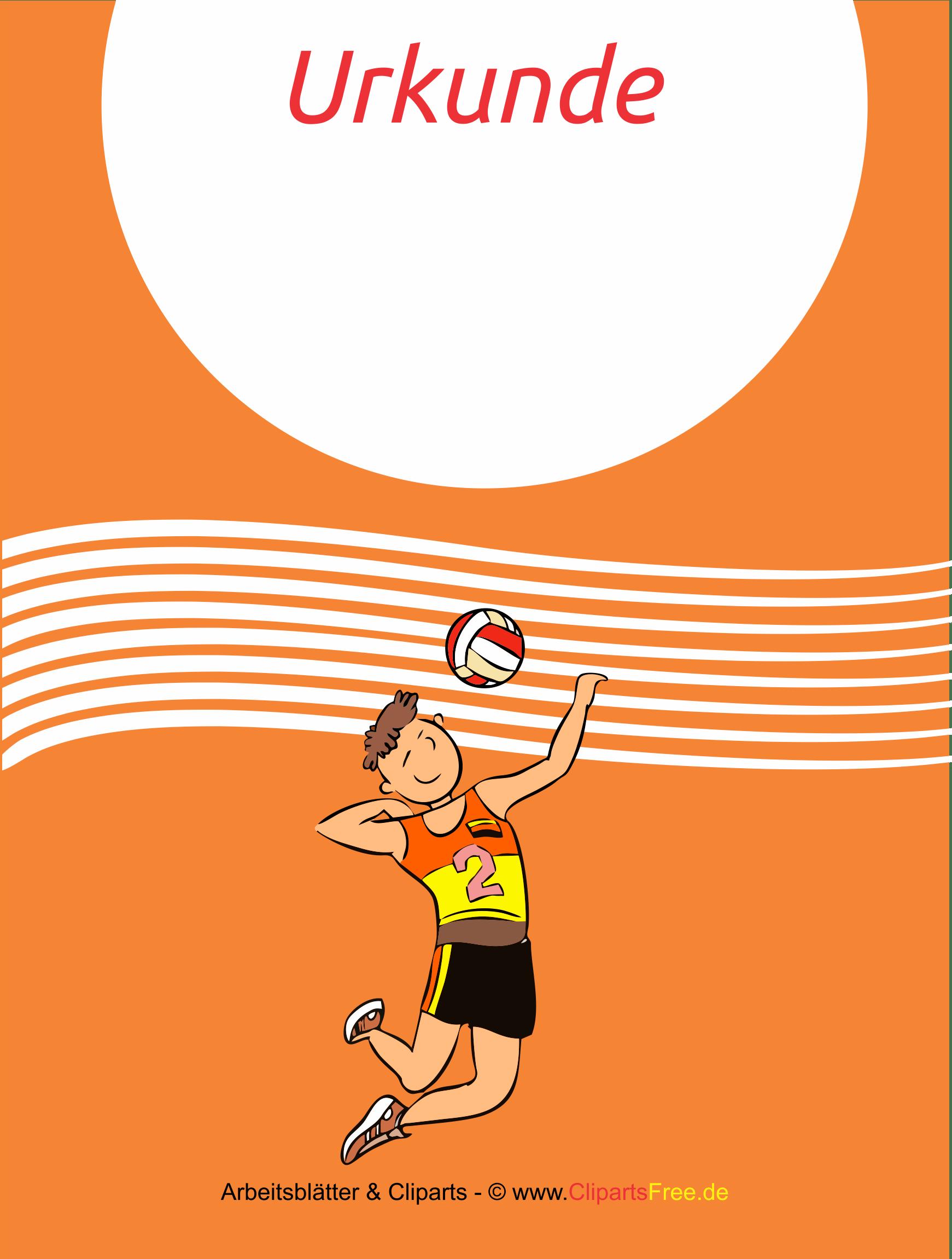 Urkunde Volleyball kostenlos zum Drucken