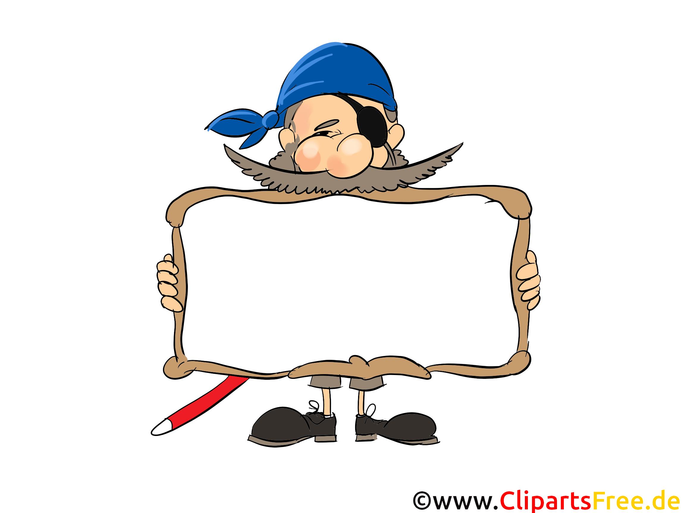 Pirat mit Rahmen zum Beschriften Bild Clipart Grafik