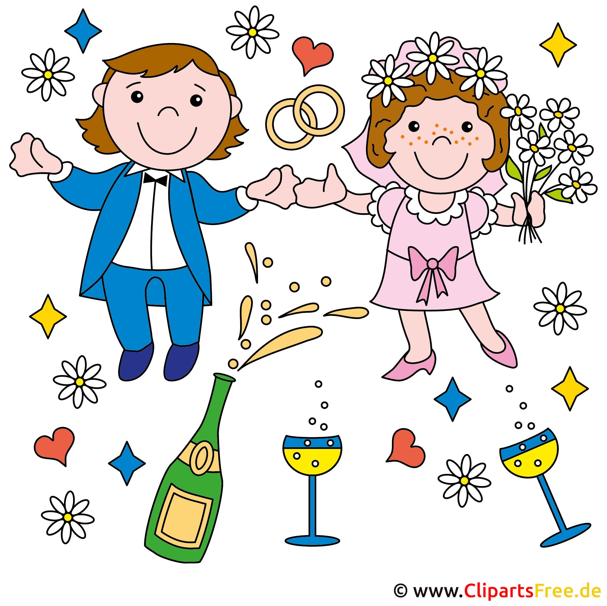 Brautpaar Comic Bild gratis