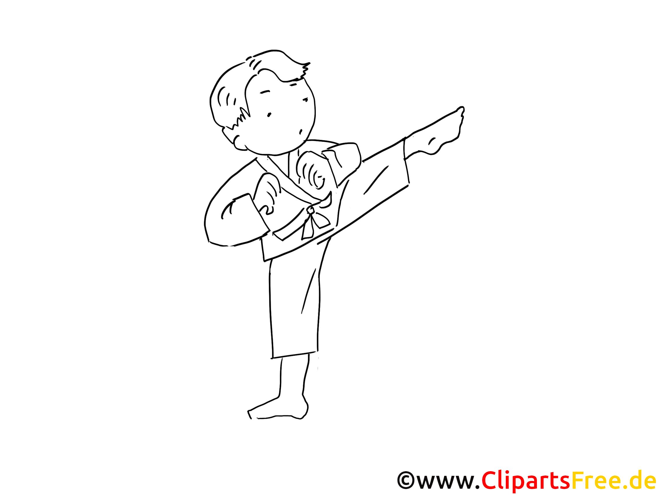 Judo Kmpfsport Zeichnung Schwarz Weiss Bild Clipart