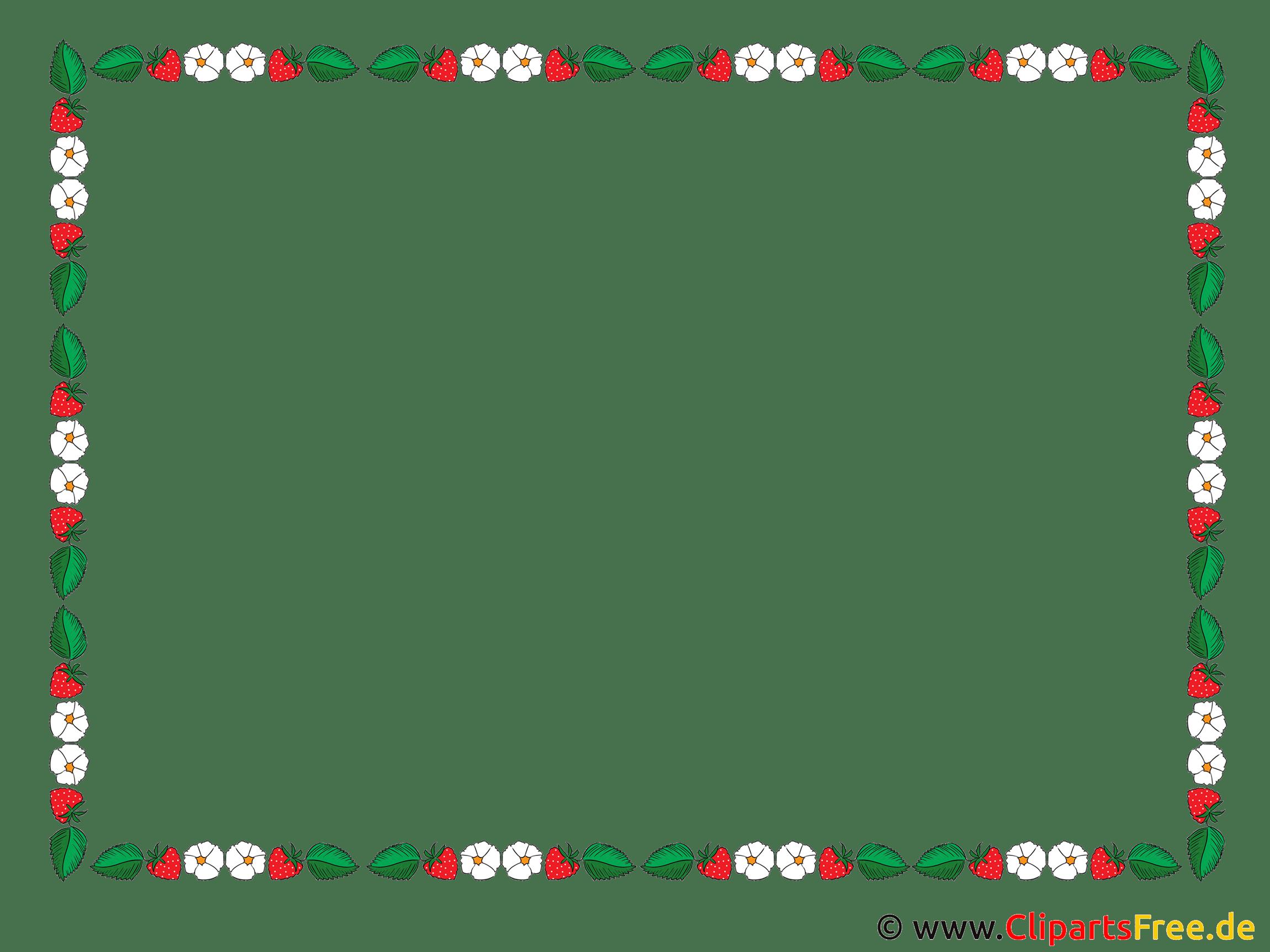 Rahmen Clipart mit Erdbeeren Blumen Bltter
