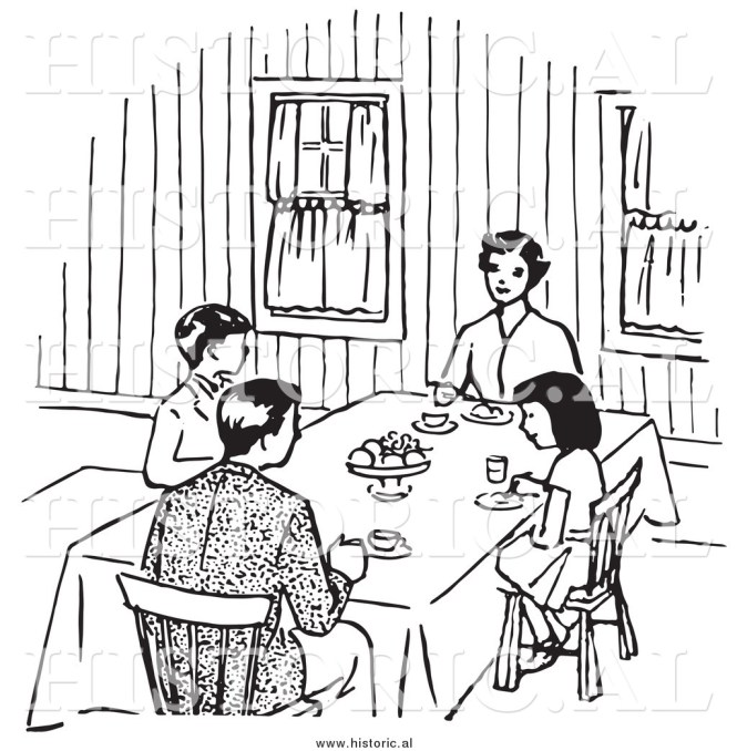 Dining Room Table Clipart Black And White Manbakeus