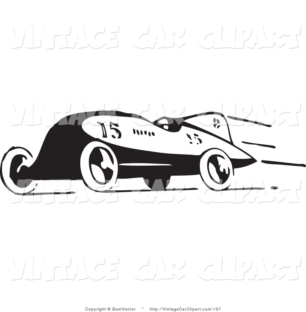 Clipart Of A Retro Black And White Race Car Speeding To
