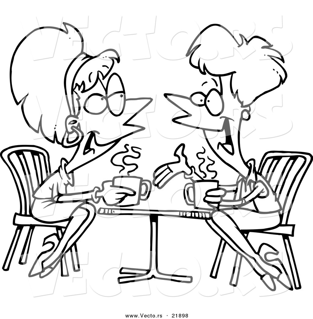 Friends Talking Black And White Clipart