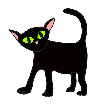 Find the perfect black cat halloween black & white image. Cute Halloween Black Cat Clipart Clipart Suggest