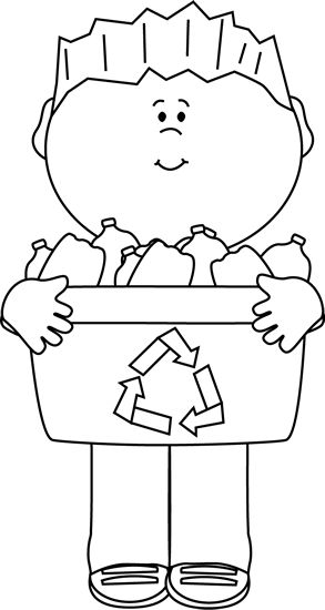Clip Art Black And White Boy Carrying A Recycle Bin Image