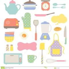 Cute Kitchen Gadgets Electrics Cooking Utensils Clipart Collection