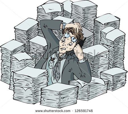 busy office worker clipart