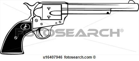 Clip Art Colt 45 Gun Revolver Six Shooter Weapon Western