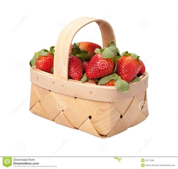 strawberry basket isolated white