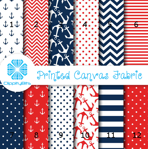 a4 printed canvas fabric nautical clippitybits