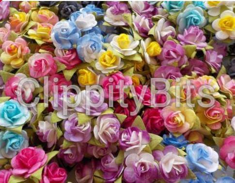 15mm premium two tone bright coloured paper mulberry roses on wire